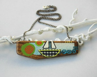 Sail Boat Necklace Wooden Art Pendant Neon Wood necklace