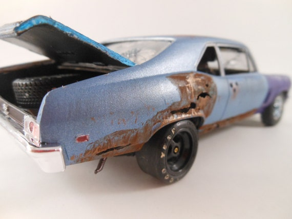 1969 Chevrolet Nova 1/24 scale model car in blue