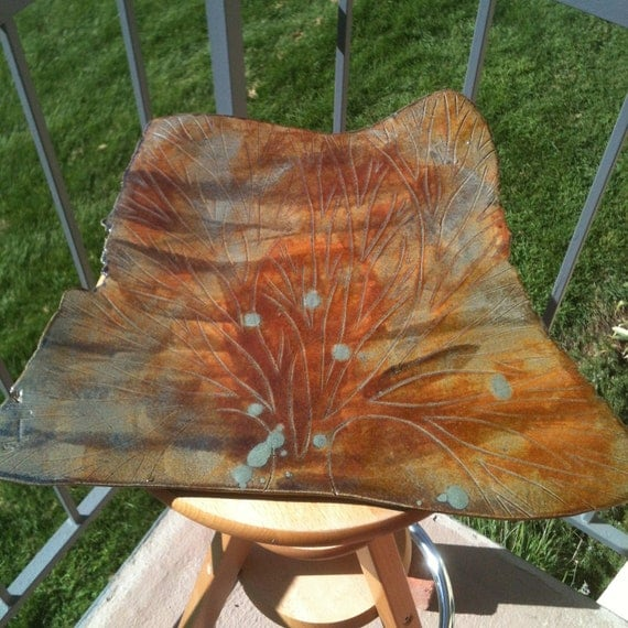 Amber and Sage Green Tree of Life Ceramic Platter