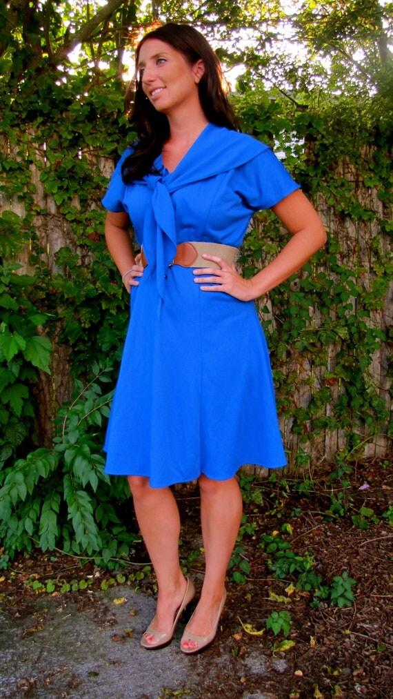 50s Vintage Cobalt Blue Cape Dress Sailor Style