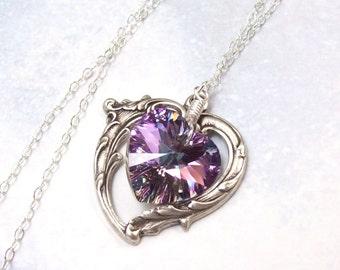 Light Amethyst Necklace, Victorian Heart Necklace, lavender heart, Swarovski crystal, pink heart, fall fashion, amethyst heart