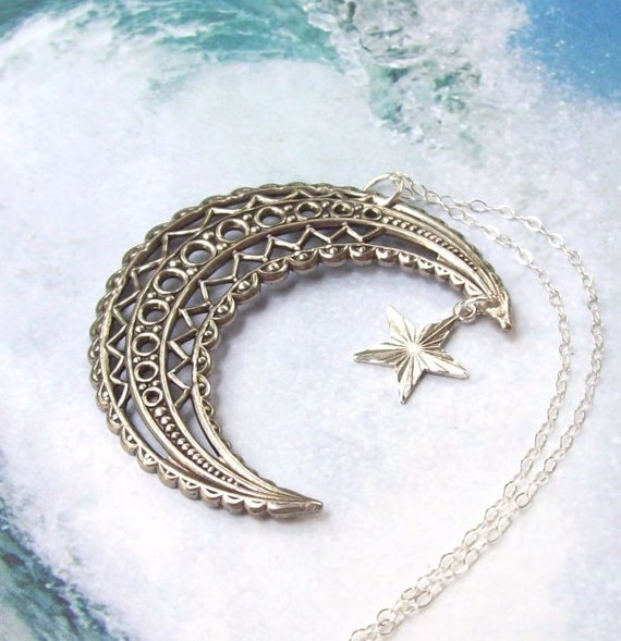 Crescent Moon Necklace, Moon and Star Necklace, Filigree Charm Necklace, sterling silver, matte, old world silver, star charm, pagan, wiccan