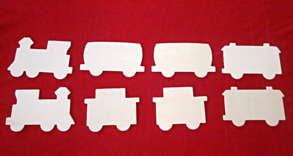 Sale 10 Off Set Of 8 Unfinished Wooden Cut Out Train