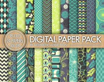 24 Pack Digital Paper - Gray Blue Green Beige - Damask Floral Geometric - 300 DPI - 24100