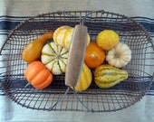 Vintage Wire Gathering Basket Wood Handle 40s// Rustic Farm French Cottage
