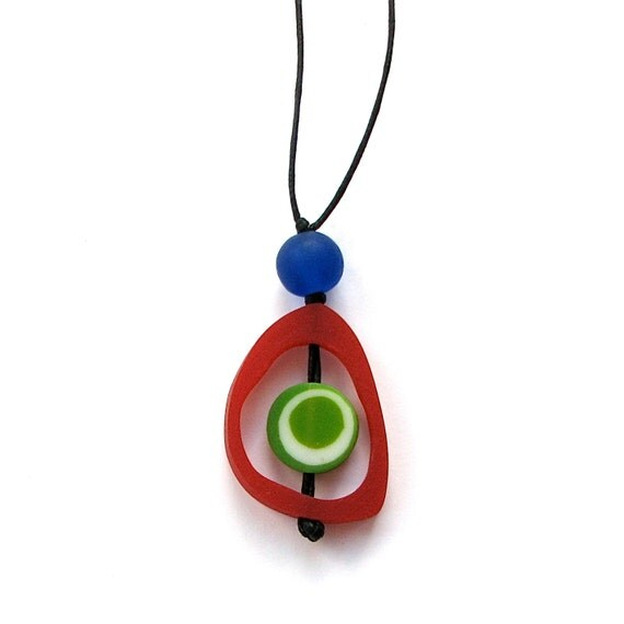 Resin Nursing Necklace - Monkey Mama Spinning Disc Pendant - Red, Green, Blue