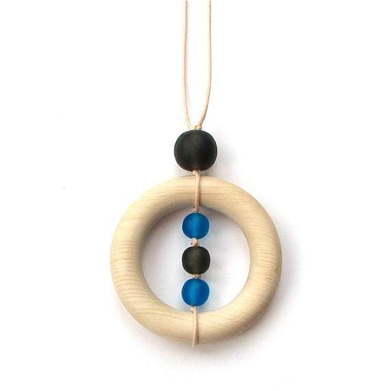 Teething Necklace/ Nursing Necklace - Wooden and Resin Breastfeeding Necklace - Cobalt Blue and Charocal Gray