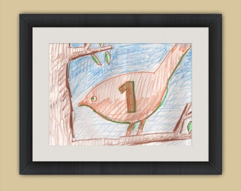 Bird on Branch with Number One - Crayon Drawing - 8x10 - Crayon Art Print - Kid's Room Art - Baby's Room Art