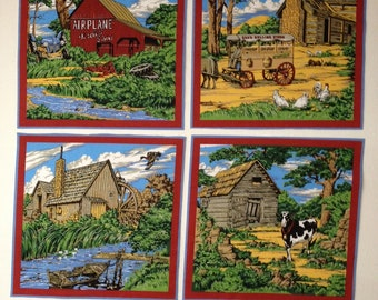 4 Vintage fabric squares - country scenes