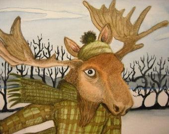 Moose Ice Skating Greeting Card