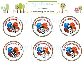 SPORTS gift tags used for birthday or baby shower tags