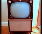 Rare MID CENTURY Modern 50s Atomic TV Set 1956 Emerson Wood Furniture Console Television Mahogany Finish Retro Style 1950's Living Room Tv