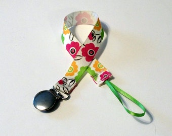 Pacifier Clip Pacifier Holder Floral   Ribbon