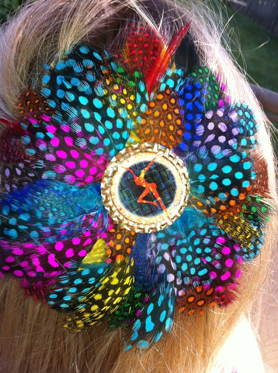 DAVE MATTHEWS BAND Glitter Resin Feather Hair Clip Dmb Rainbow Tickets Tour Fans upcycled Eco Friendly
