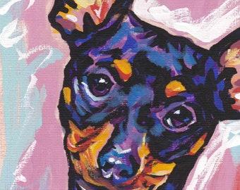 "Miniature Pinscher art print pop dog art print bright colors 8.5x11"" LEA min pin"