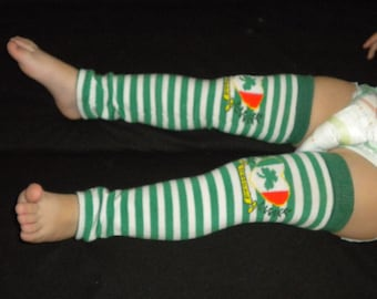 Baby Legwarmers St Patricks Day 'Irish' Shamrock Green and White Stripe READY TO SHIP