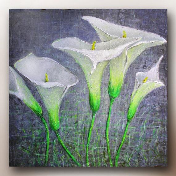 Art ACRYLIC ABSTRACT  PAINTING Calla Lilies Garden Flowers Acrylic on 24''x24'' Canvas