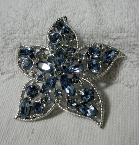 """Vintage Rhinestone Brooch Pin of Blue Crystals called """"Starfire"""" by Sarah Coventry Mint Condition Only 8 USD"""