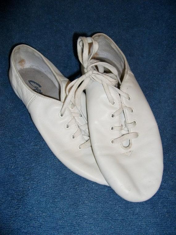vintage white leather capezio jazz shoes size 6 1 2 wide