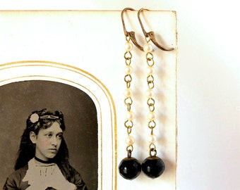 Vintage Black Jet Earrings Glass & Pearl Beads Extra Long Deco Drops