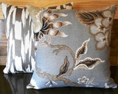 Decorative pillow, metallic blue, silver, bronze, gold Hot House Flowers