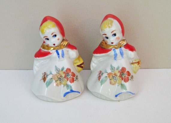 Vintage Little Red Riding Hood Salt and Pepper Shakers by Hull Pottery Fairy Tale Character Antique Mid Century Salt Pepper