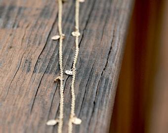 Gold - Long Tiny SKULL Necklace - 40 inch, feminine skull jewelry, Elegant Skull Jewelry, Dainty Jewelry