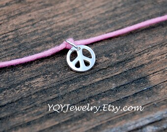 Sterling Silver PEACE Sign, Adjustable, Waxed Linen Bracelet, Summer jewely, Beach Jewelry, Birthday Gift