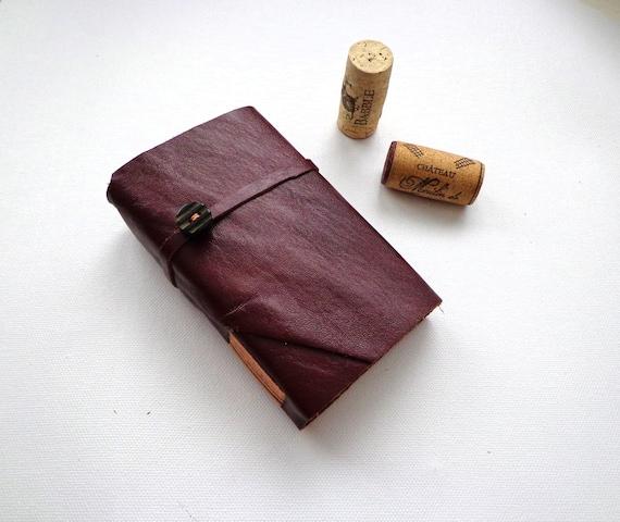 MINI-Burgundy Leather Pocket Journal-Handmade