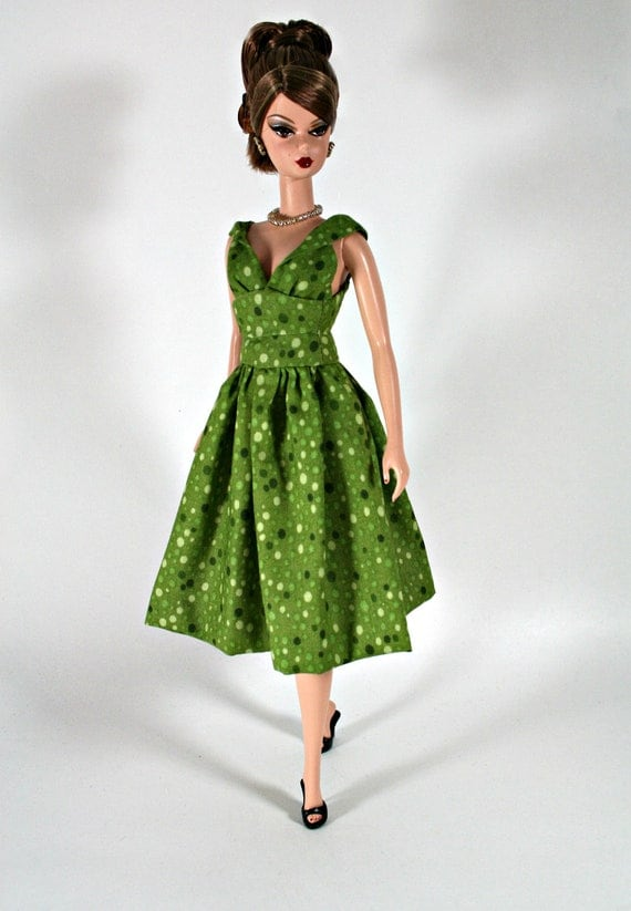 Polkadotted Green Dress For Barbie