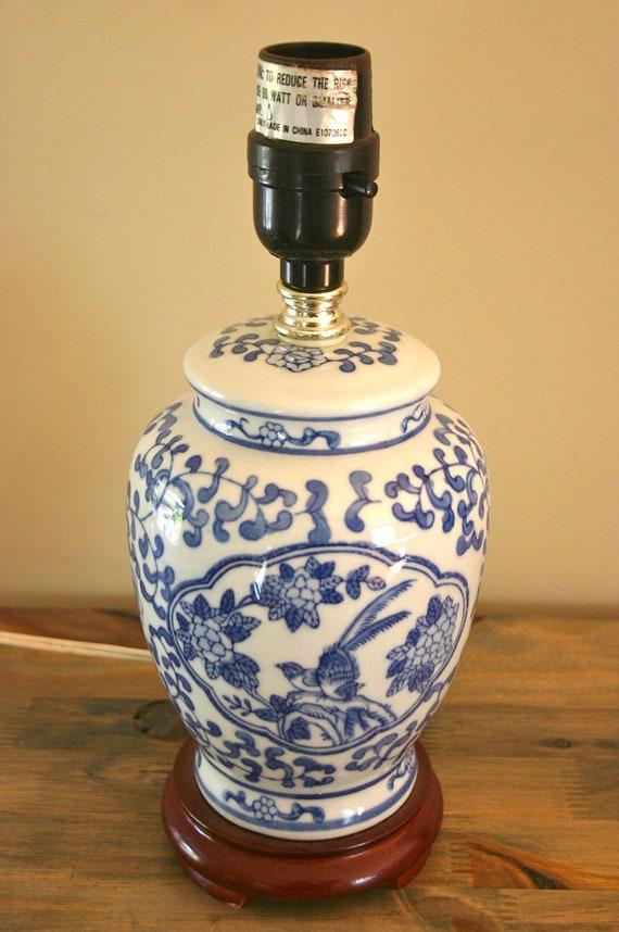 vintage blue and white ginger jar lamp. Black Bedroom Furniture Sets. Home Design Ideas