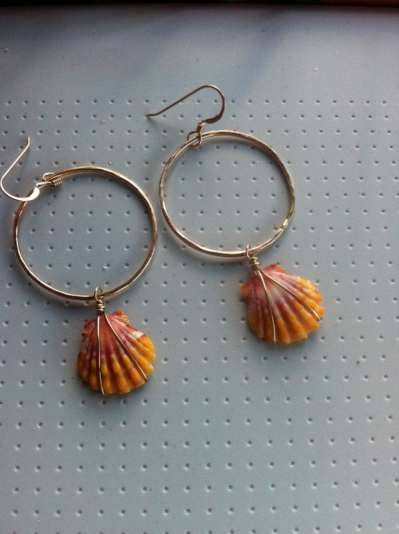 Sunrise Shell Earrings On Goldfill Hoops