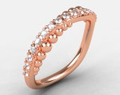 Natures Nouveau 14K Rose Gold Diamond Pearl and Vine Wedding Band, Engagement Ring NN115-14KRGD