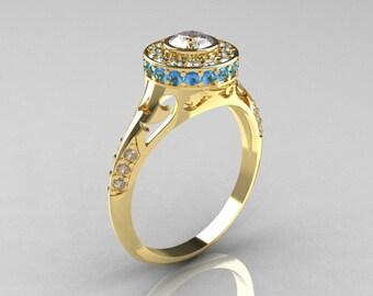 Modern Antique 18K Yellow Gold White Sapphire Aquamarine Diamond Wedding Ring, Engagement Ring R191-18KYGDAQWS