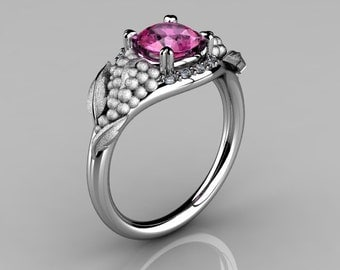 Nature Inspired 14K White Gold 1.0 CT Pink Sapphire Diamond Grape, Vine and Leaf Engagement Ring NN118S-14KWGDPS