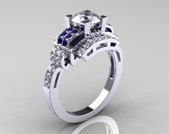 Modern Edwardian 14K White Gold 1.0 Carat White and Blue Sapphire Diamond Ring R202-14KWGDBWS