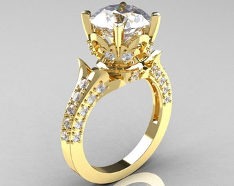 Classic French 14K Yellow Gold 3.0 Carat Simulation Diamond CZ Solitaire Wedding Ring R401-14KYGSDCZ