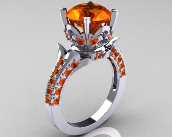 Classic French 10K White Gold 3.0 Carat Orange Sapphire Solitaire Wedding Ring R401-10KWGOS