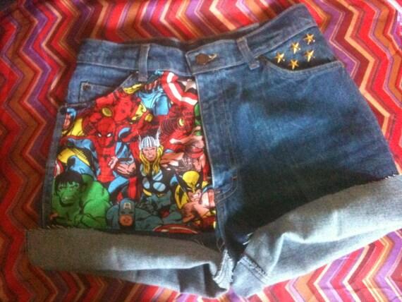 High Waist The AVENGERS Marvel Cuffed Studded Shorts