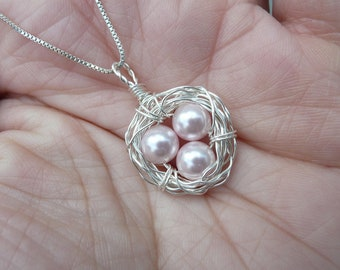 Birds Nest Necklace & Chain - Argentium Sterling Silver Pendant