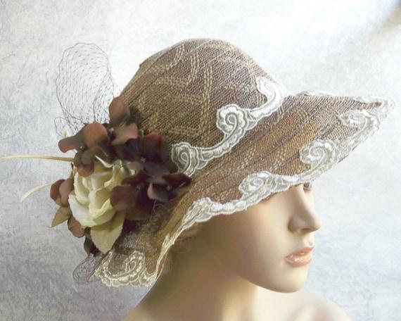 Wide Brim Brown Hat, Kentucky Derby Hat, Garden Party Hat or Victorian Tea Party