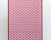 Recycled Business Card Holder  Retro Upcycled Red Chevron & Polka Dots