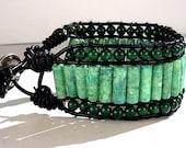 Three Tier Wrap Bracelet - Riverstone - Malachite - Leather Cord - Metal Button Clasp