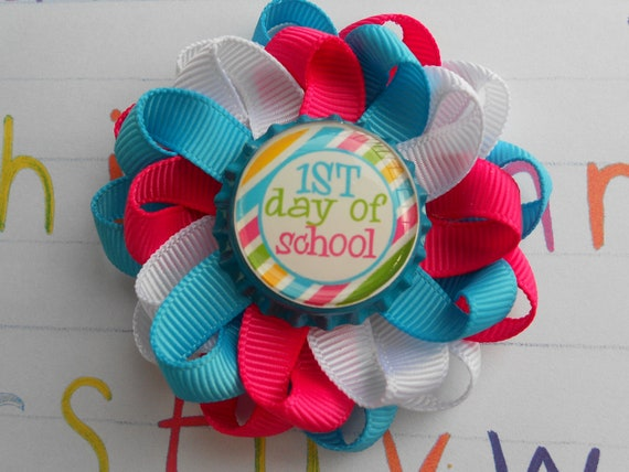 First day of school Aqua and pink loopy flower hair bow