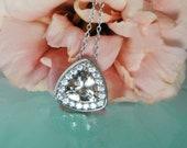 Herkimer Diamond Necklace Sterling Silver Champagne Trillion