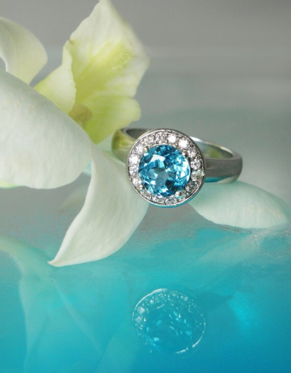 Blue Topaz Ring with White Topaz Halo Sterling Silver Ring