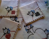 Very Special Vintage Scotty Dog Tablecloth with Matching Napkins