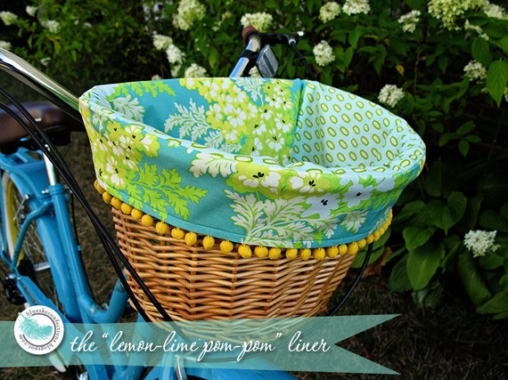 Wicker Basket With Pom Poms : Lemon lime pom bike basket liner by blueskyconfections