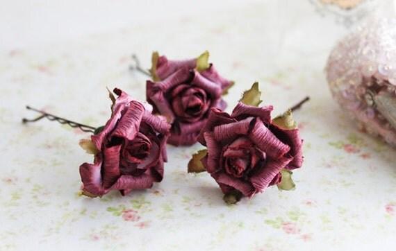 Plum Rose Flower Hair Pins. Woodland. Autumn Wedding. Burgundy Wine. Fall. Weddings. Hair Accessories. Bridal Hair Flower. Romance. Set of 3