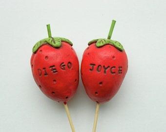 Sweet Summer Strawberries Wedding Cake Topper